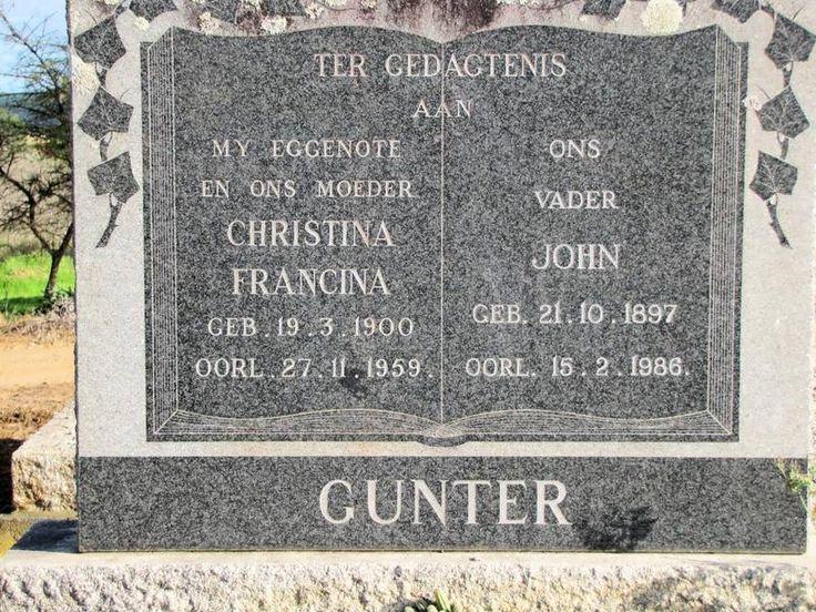 GUNTER John 1897-1986 & Christina Francina 1900-1959 Western Cape, HEIDELBERG, main cemetery