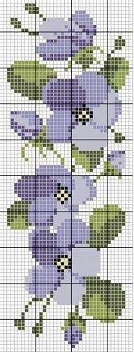 cross stitch chart - violets border