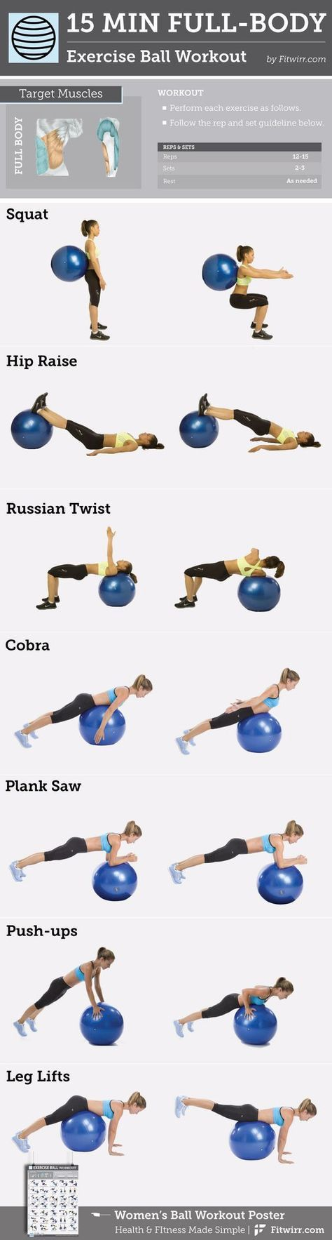 15-Minute Full-Body Exercise Ball -Workout content @ https://www.pinterest.com/dcindcmedia/