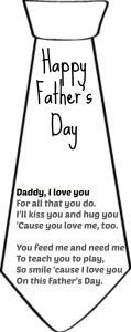Father's Day poem for the Father's Day tie card + many other tie printable cards.