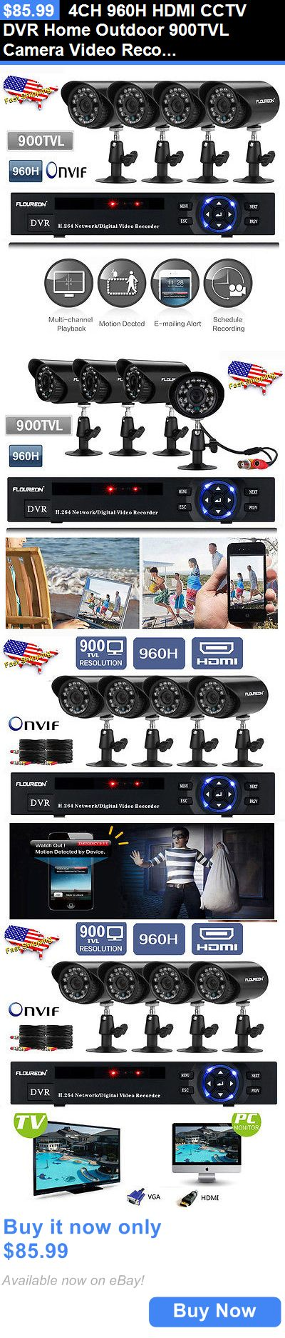 Security Cameras: 4Ch 960H Hdmi Cctv Dvr Home Outdoor 900Tvl Camera Video Recorder Security System BUY IT NOW ONLY: $85.99