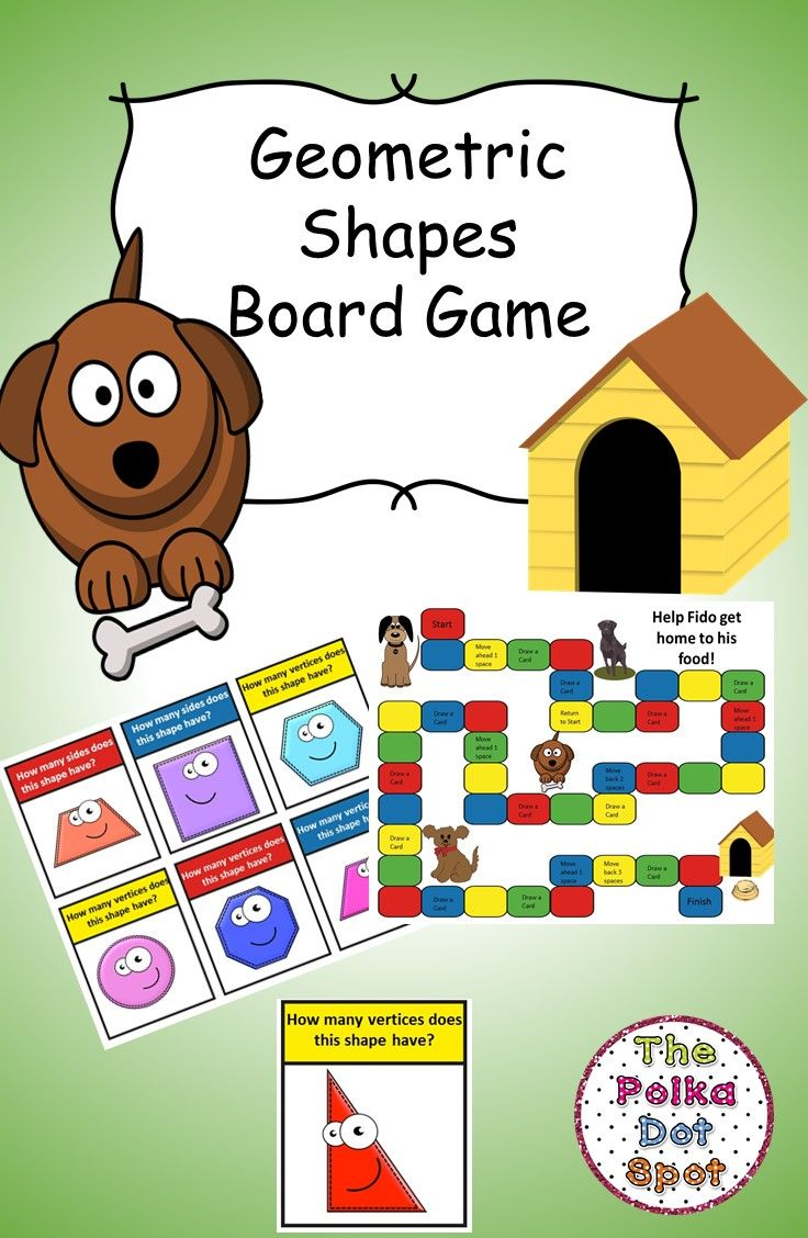 Geometric Shapes Board Game- Practice the number of angles and vertices