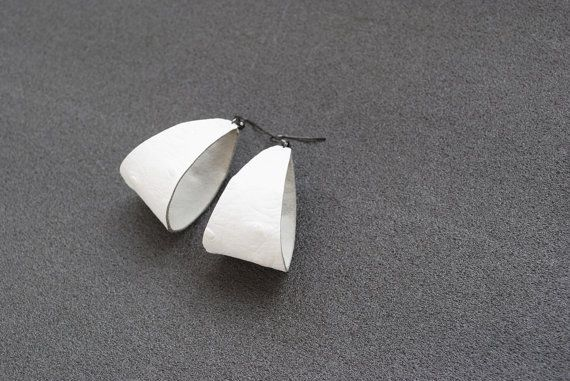 White ostrich leather earrings simple minimalist by elfinadesign