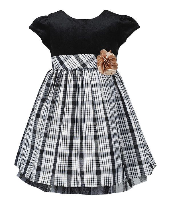Take a look at this Black & Gold Plaid Dress - Girls on zulily today!