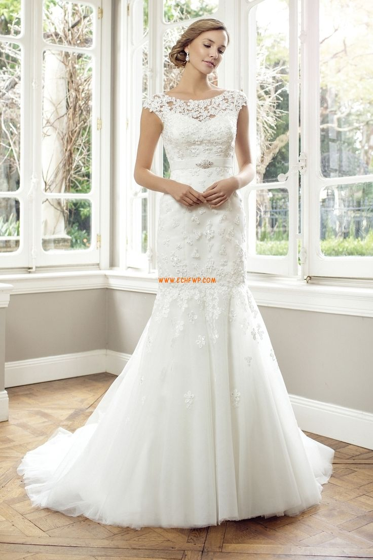 Jaro 2014 Obdélník Bez rukávů Luxusní svatební šaty