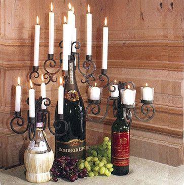 Tuscan Wine Bottle Candelabras mediterranean wine racks