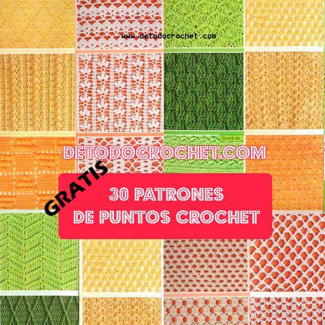 30 patrones de puntadas crochet gratis con esquemas