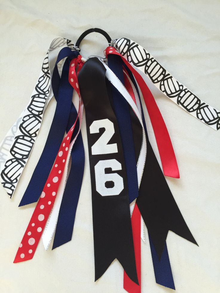 Custom Red and Navy Volleyball Hair Bows, Volleyball  Hair Ribbons, Volleyball Ribbons by SunshineandBling on Etsy