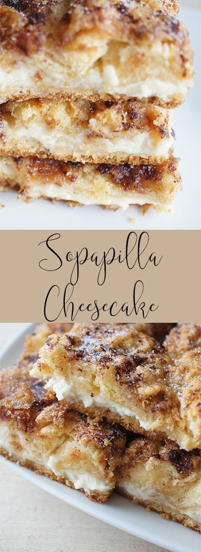 Sopapilla Cheesecake bars, delicious, fluffy, cream cheese, and cresent layers.
