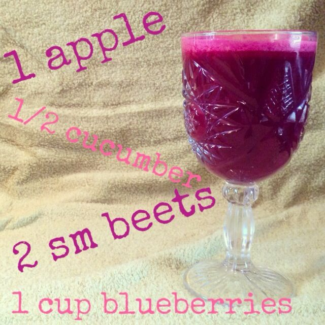 This is a good beet recipe. I did 1 apple, 1/2 cucumber, 1 small beet peeled, and 1 cup blueberries. Trying to incorporate beets in small doses. Makes 1 serving.