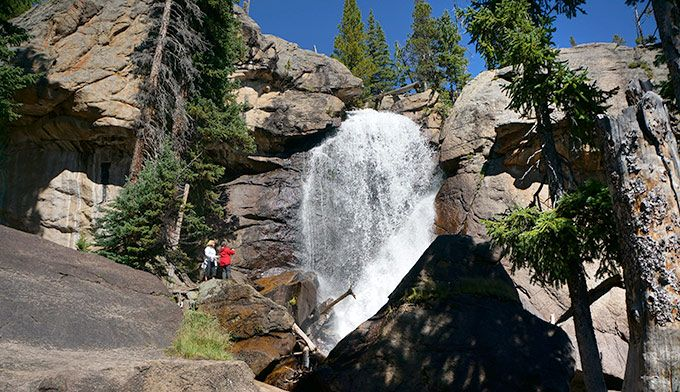 This easy 2.7 mile hike passes by three named waterfalls and numerous smaller cascades and trickles. Enter RMNP at the Wild Basin Entrance