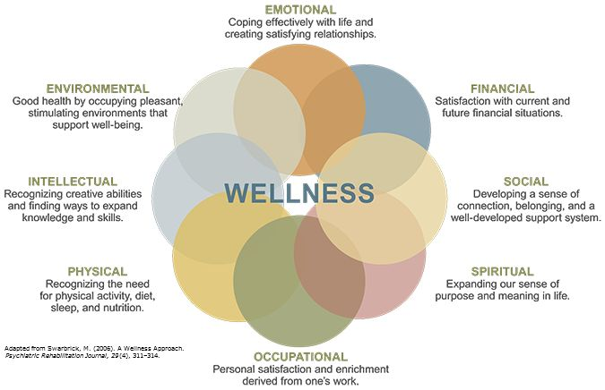 Eight Dimensions of Wellness - Emotional, Environmental, Financial, Intellectual, Occupational, Physical, Social, Spiritual