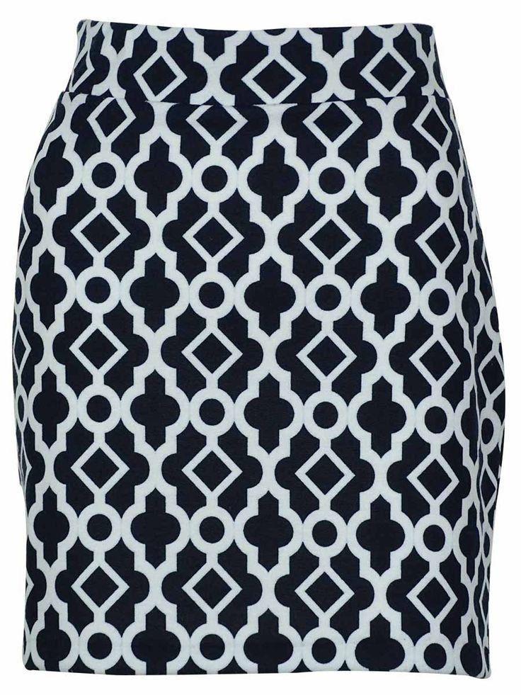 INC International Concepts Women's Elastic Waist Skirt (PS, Morrocan Window). Not lined. Elastic waistband. Stretch fabric.