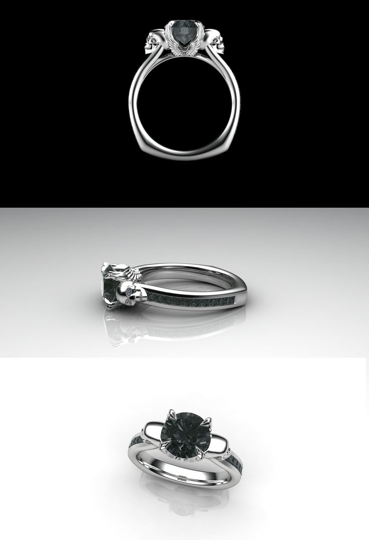 Angels And Demons Engagement Ring Made In 14k Gold With Black And White  Diamonds #