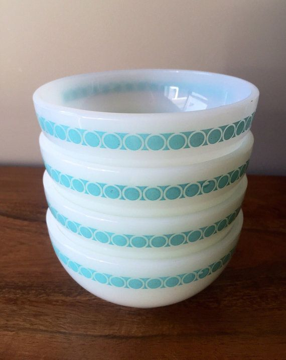 Set Of 4 Vintage Fire King Turquoise & White Fire by FoxyRevival