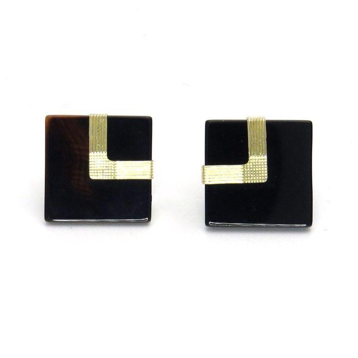 Art Deco Inspired Black Onyx 14k Gold Geometric Earrings