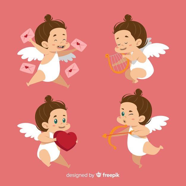 dc6a23f316 Collezione valentine cupid di Brunette Vettore gratuito   Freepik