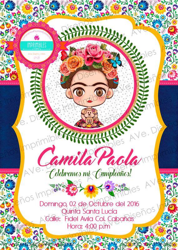 Frida Kahlo Invitaciones Fondo Flores Mexicanas por AVeDesignandWeb