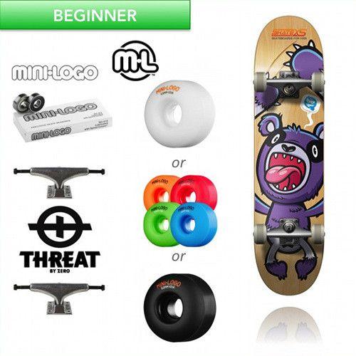 SkateXS Purple Panda Beginner Complete Skateboard for Kids