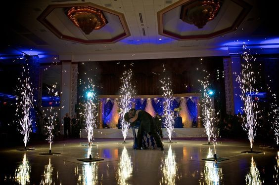 Enjoy a spectacular ending to your first dance with indoor silver fountains. Wedding fireworks.: