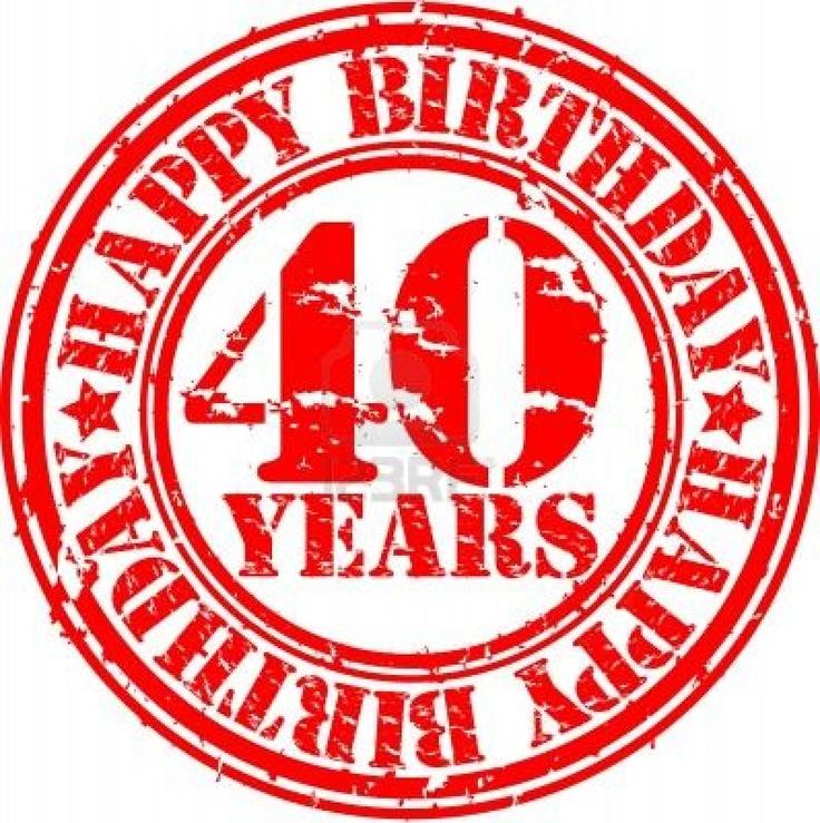 Grunge 40 anni felice compleanno timbro di gomma, illustrazione vettoriale Archivio Fotografico