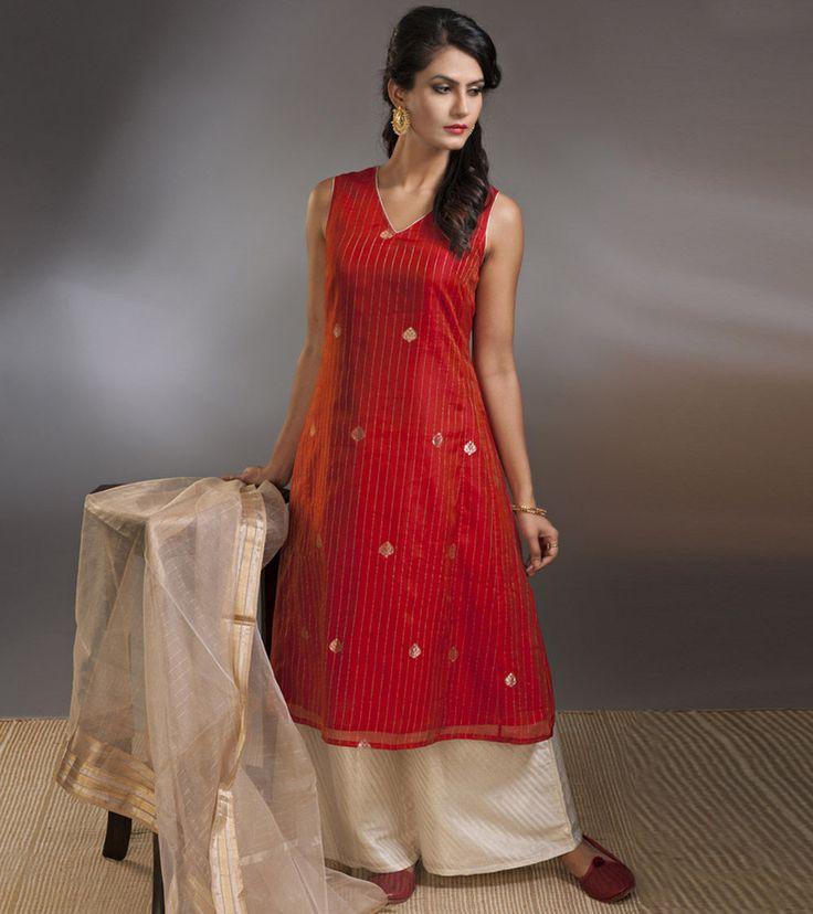 #Red Zari Work Chanderi #Cotton #Silk #Kurta
