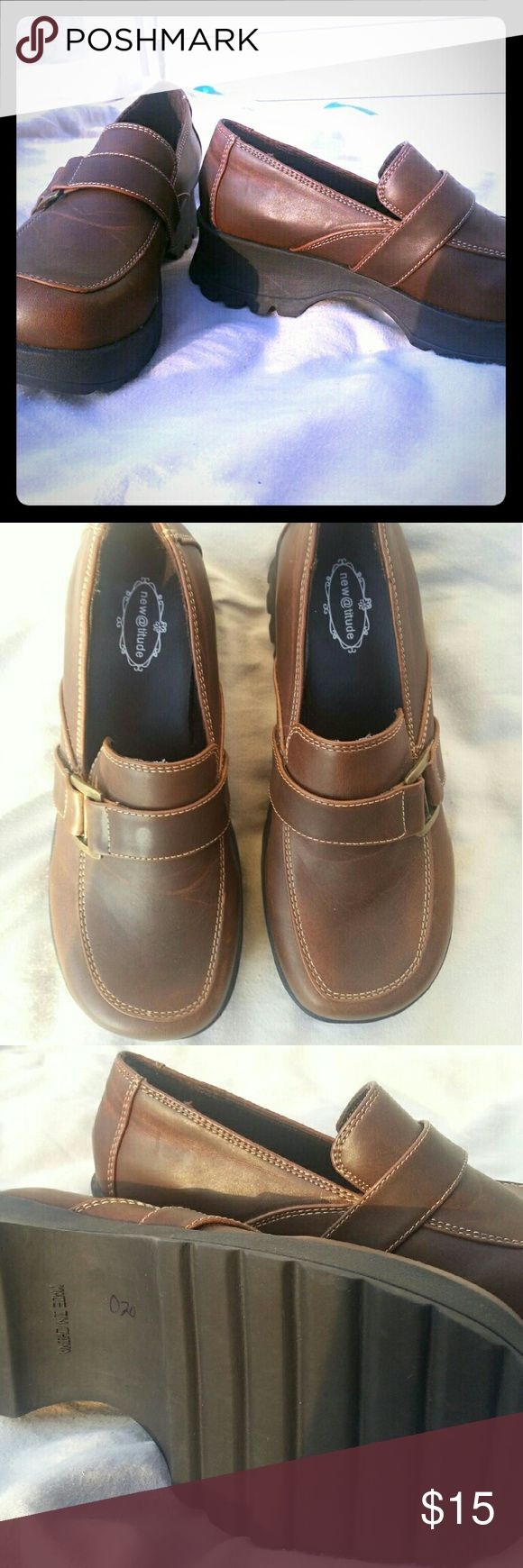 New Women's Brown Loafer's New, never worn (no box) women's chunky brown loafers.  Too big for me New Attitude Shoes Flats & Loafers
