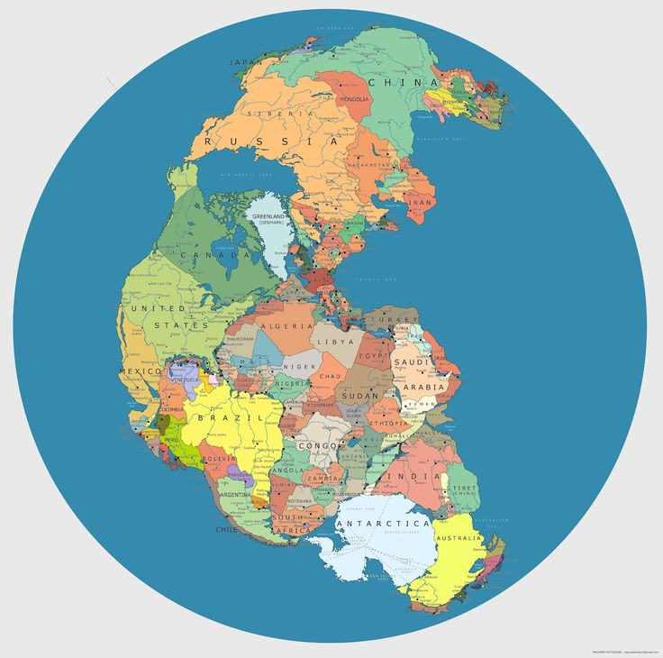 Pangea overlaid with contemporary national borders.