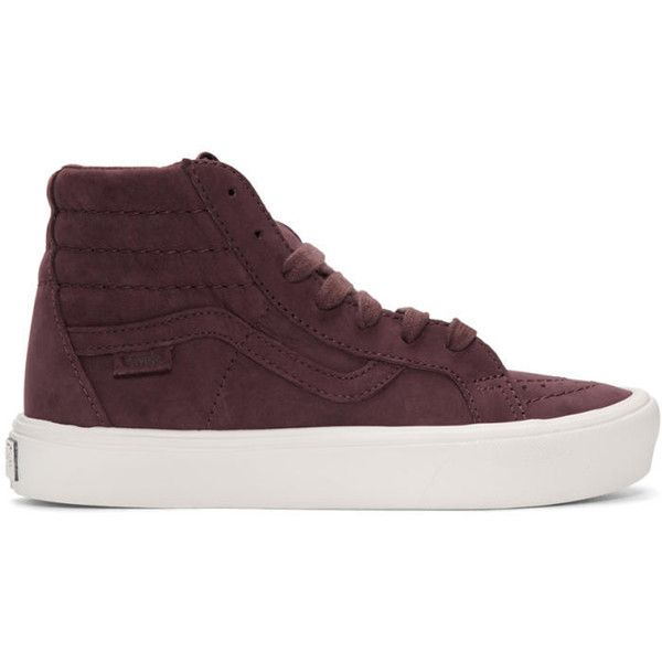 Vans Burgundy Nubuck Sk8-Hi Reissue Lite LX Sneakers ($150) ❤ liked on Polyvore featuring shoes, sneakers, burgundy, high top shoes, vans shoes, high top trainers, lace up high top sneakers and rubber sole shoes
