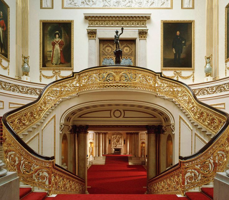 Buckingham Palace:  THE GRAND STAIRCASE – Designed by Nash for George IV. The great masterpiece in the Palace.