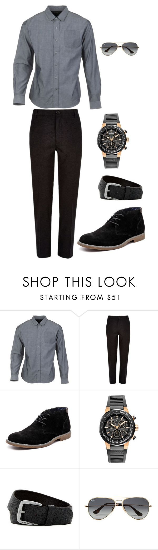 """""""Chapter 1 Well Hello Oliver"""" by sara-scott-i on Polyvore featuring Parker Dusseau, River Island, Hush Puppies, Salvatore Ferragamo, HUGO, Ray-Ban, men's fashion and menswear"""