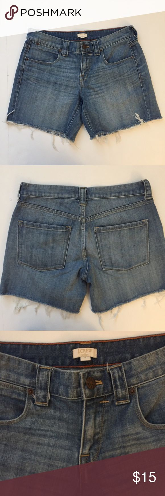 "J Crew Factory denim cutoff shorts size 2 Great condition J Crew factory cutoff denim shorts. Length 13.75"". Waist 26"".    Size 2. J. Crew Shorts Jean Shorts"