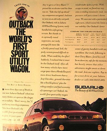 Vintage Subaru Outback Ad: The World's First Sport Utility Wagon