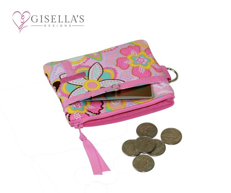 Pink floral Personalized coin purse with front credit card pocket and back zipper pocket, monogram small zippered pouch, Custom coin purse