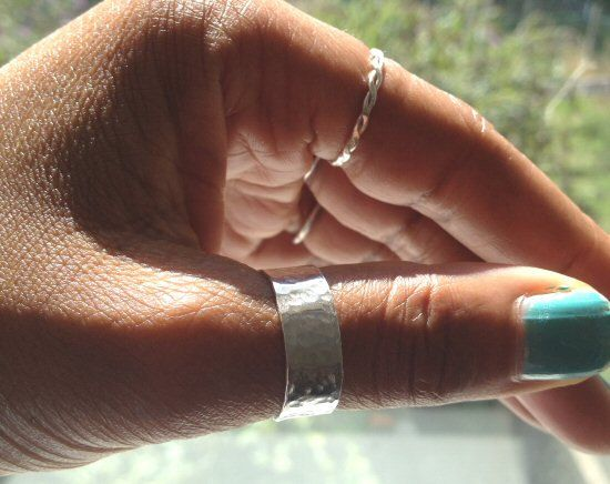 Silver Thumb Ring Hammered Ring Sterling Silver UK Shop by PABJewellery on Etsy