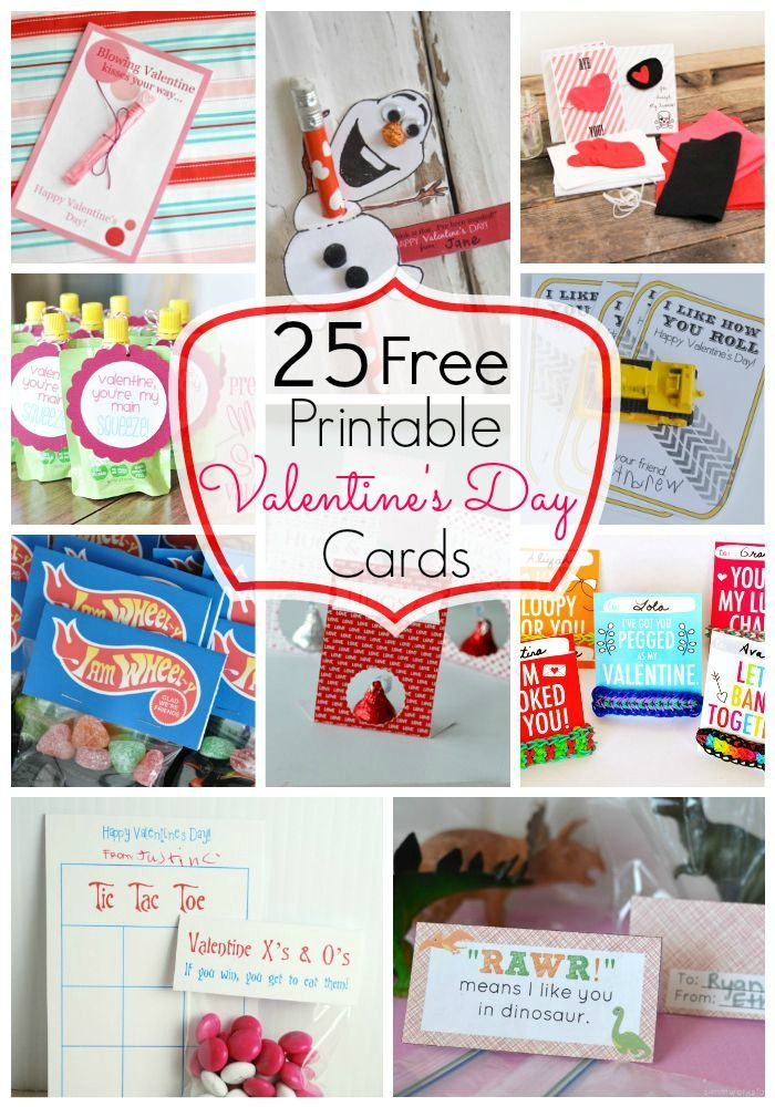 25 FREE Printable Valentine's Day Cards! Easy Candy and Non Candy Valentines for Kids!