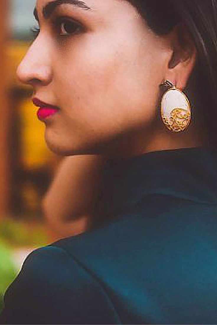 #kundan #eastern #handcrafted #eastern #mesh #meenakari #earrings #leaf #statementjewelery #artisan #esfir