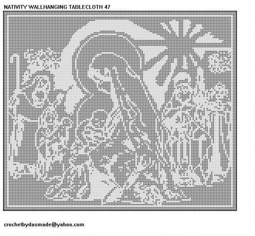 The Nativity Wall hanging. Beautiful filet crochet project that would be a heirloom.