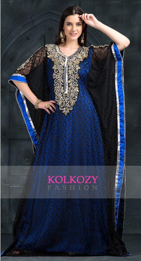 Charming Black & Blue Color Kaftan Dress Arabic by KolkozyShop