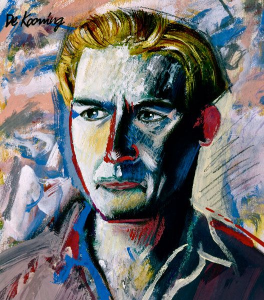 "Antoni LAFAYETTE ( illustrator) Portrait of William de Kooning , NOT "" William de Kooning self portrait """