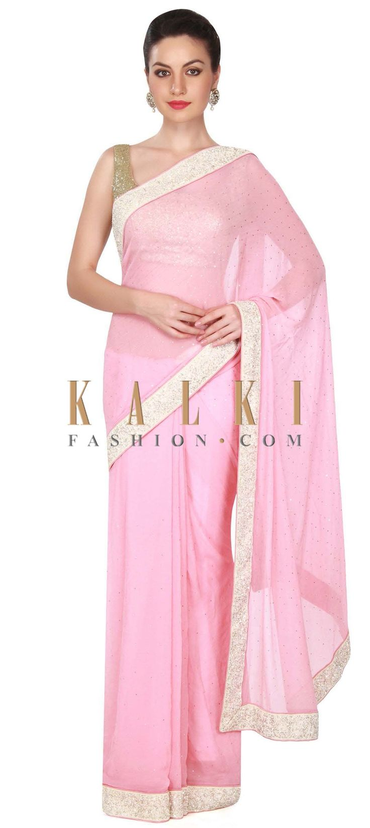 Buy this Pink chiffon saree with white border only on Kalki