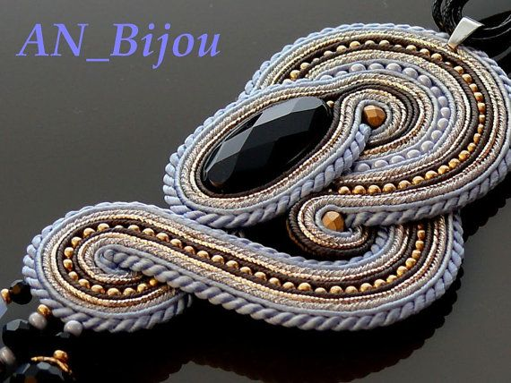 Silver blue Soutache necklace with Onyx . by ANBijou on Etsy