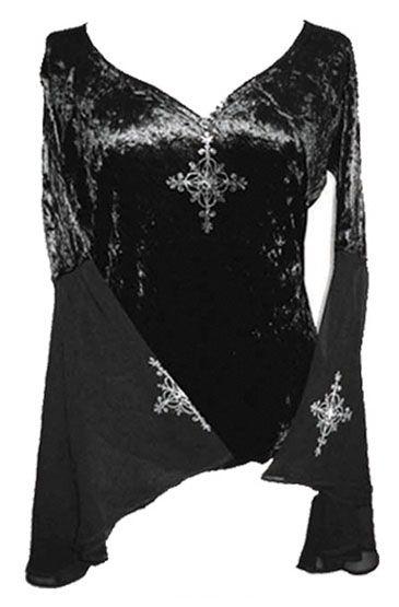 Black Velvet Organza Sleeve top
