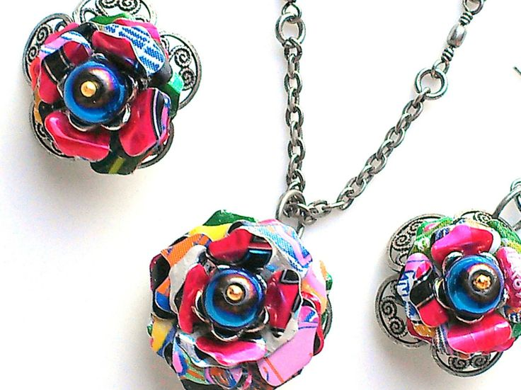 Colorful Aluminum Can Flower Necklace
