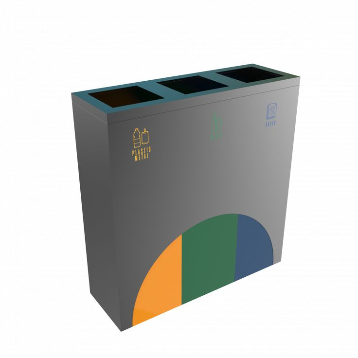 ELM PC - Modern solution powder coated metal recycling bin station
