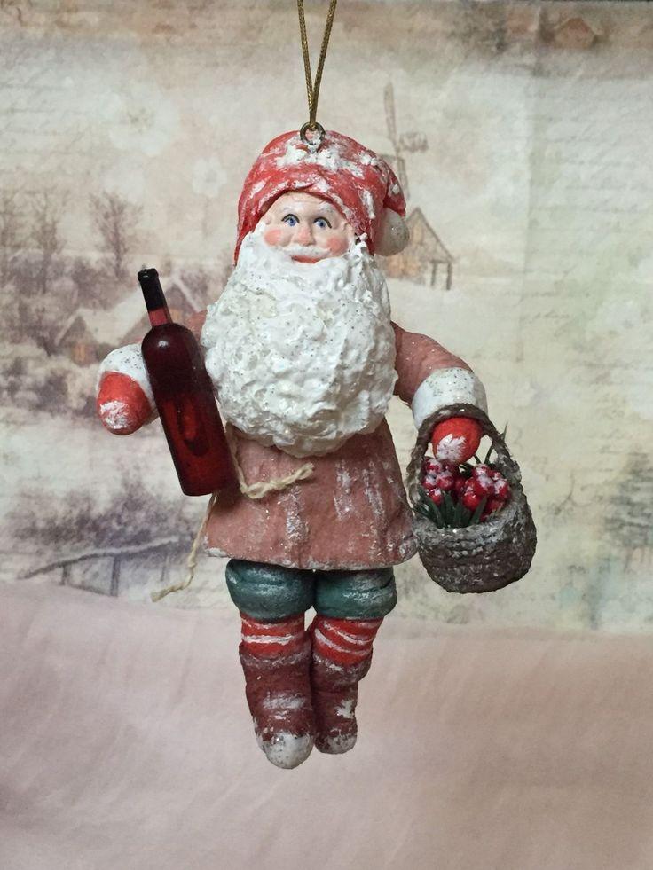 """Купить Ватная игрушка """"Гном Северьян и вино из можжевельника"""" в интернет магазине на Ярмарке Мастеров"""