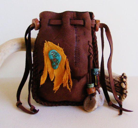 MOUNTAIN MAN deerskin leather Medicine Bag, Spirit Pouch with Kingman Turquoise, Deer antler