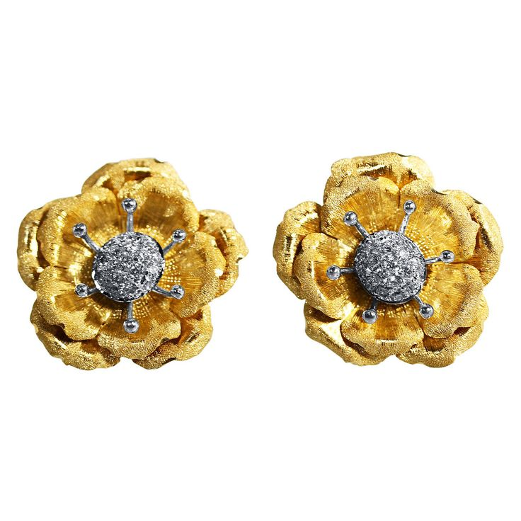 Buccellati Diamond Two Color Gold Flower Earclips | From a unique collection of vintage clip-on earrings at https://www.1stdibs.com/jewelry/earrings/clip-on-earrings/
