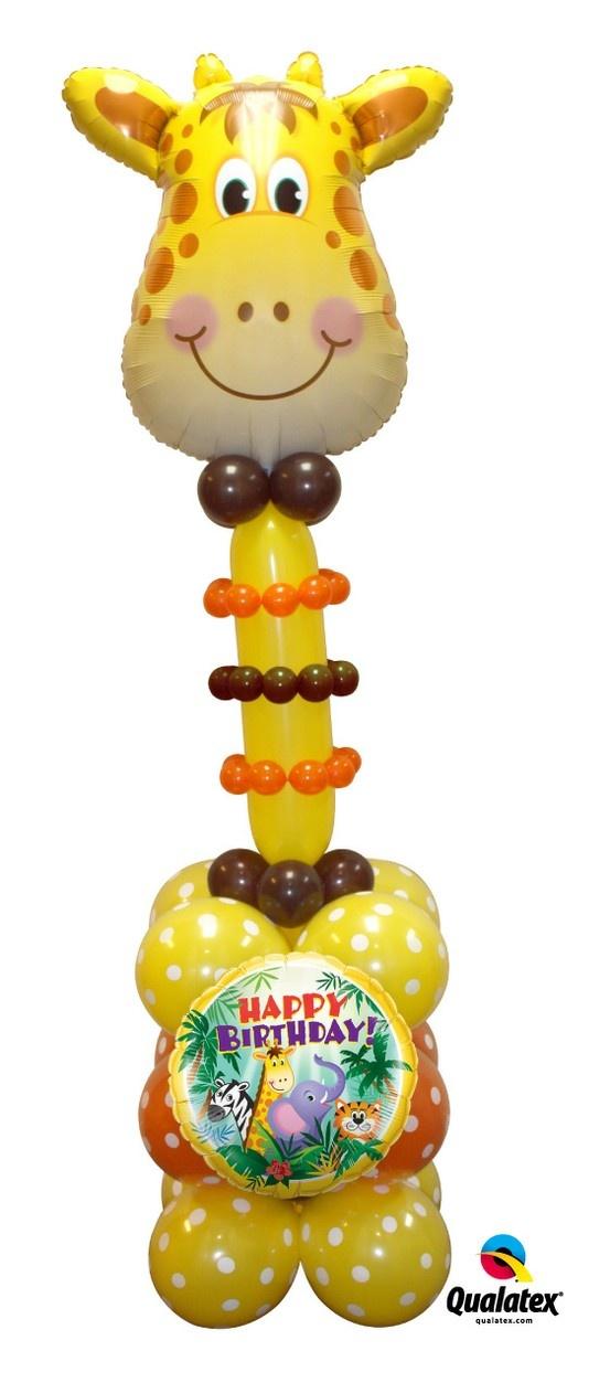 Adorable giraffe balloon Column for a #safari or #jungle #birthday party.
