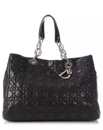17b34812eec DIOR Soft Tote Black Lambskin Leather Lady Handbag Satchel Silver Chain  Charms